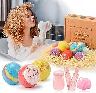 Bath Bombs Gift Set for Women, 3 in 1Bath Sponge Exfoliating, 9PCS Organic Bath Bombs, Bubble Bath for Women, Shea, SPA Ba...