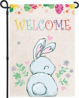 GEGEWOO Welcome Peeps Easter Garden Flag, Burlap Double Sided Easter Yard Flag, Cute Bunny Peeps Small Garden Flag, Vertic...