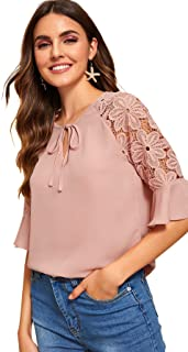 Women's Tie Keyhole Lace Half Sleeve Chiffon Blouse Top
