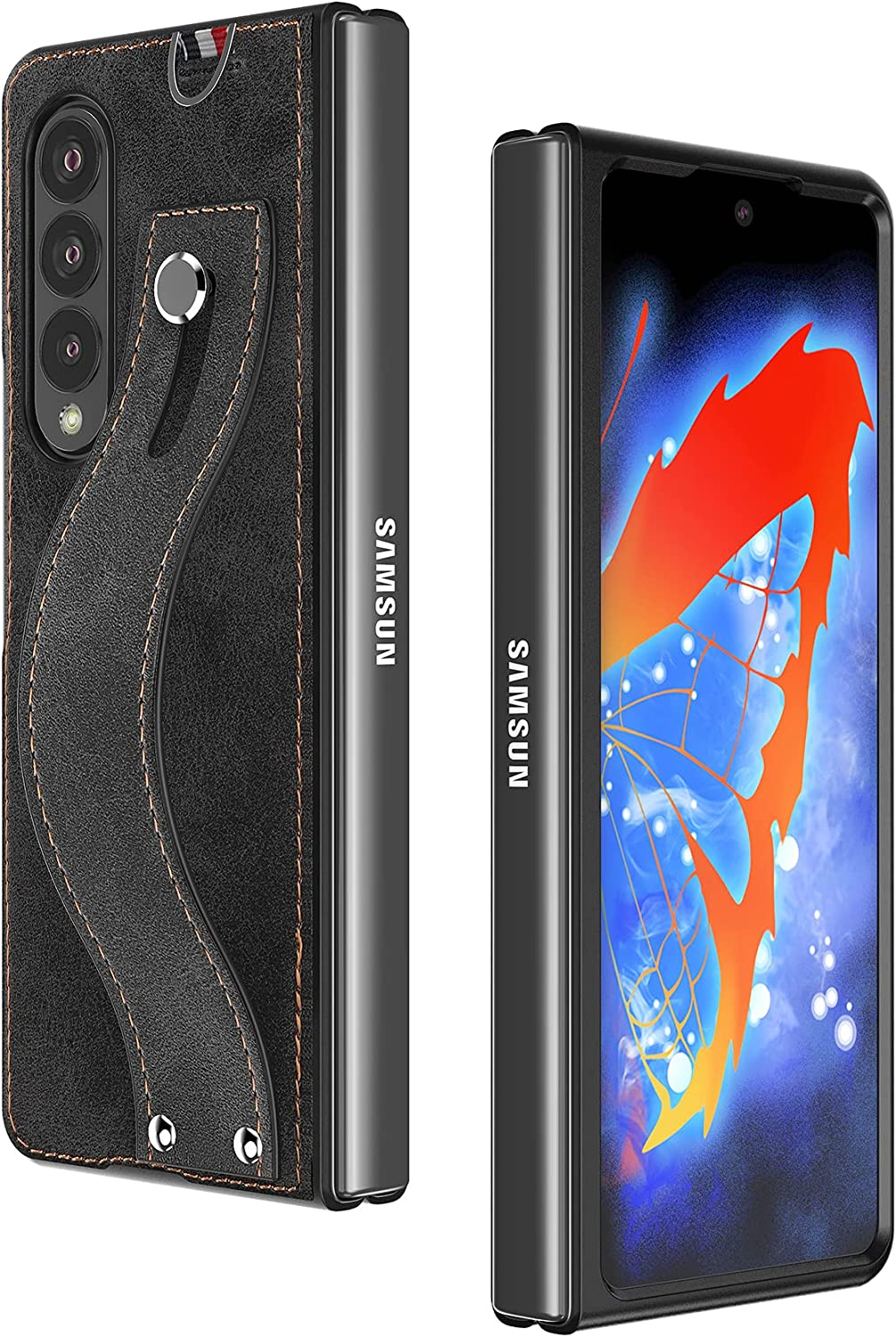 Cresee Compatible with Samsung Galaxy Z Fold 3 5G Case, with Hand Strap, PU Leather Back Cover + Hard PC Front Bumper Protective Shell Thin Fit Phone Case for Galaxy Z Fold3 2021 - Black
