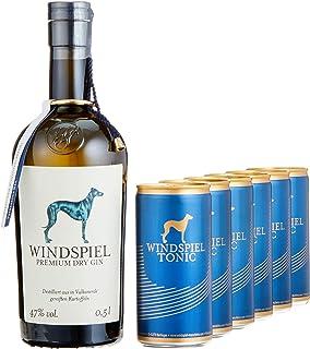 Windspiel Genusspaket London Dry Gin 47% vol. 1 x 0,5L & Windspiel Tonic Water Dosen 6 x 200ml - International ausgezeichneter London Dry Gin & Tonic Water Geschenkset