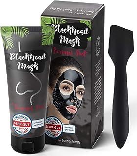 Premium Blackhead Mask By Summer Foot Black Edtion I Dermatologisch getestet I XXL Packung 100 ml  Spatel I Aktivkohle Peel Off Mask entfernt Mitesser