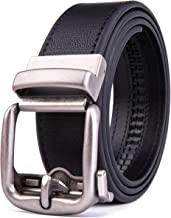 Men's Genuine Leather handmade No Holes Ratchet & No Ratchet Reversible Dress Casual Jeans Belt with Automatic Buckle