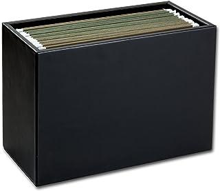 Dacasso Black Leather Hanging File Folder Box