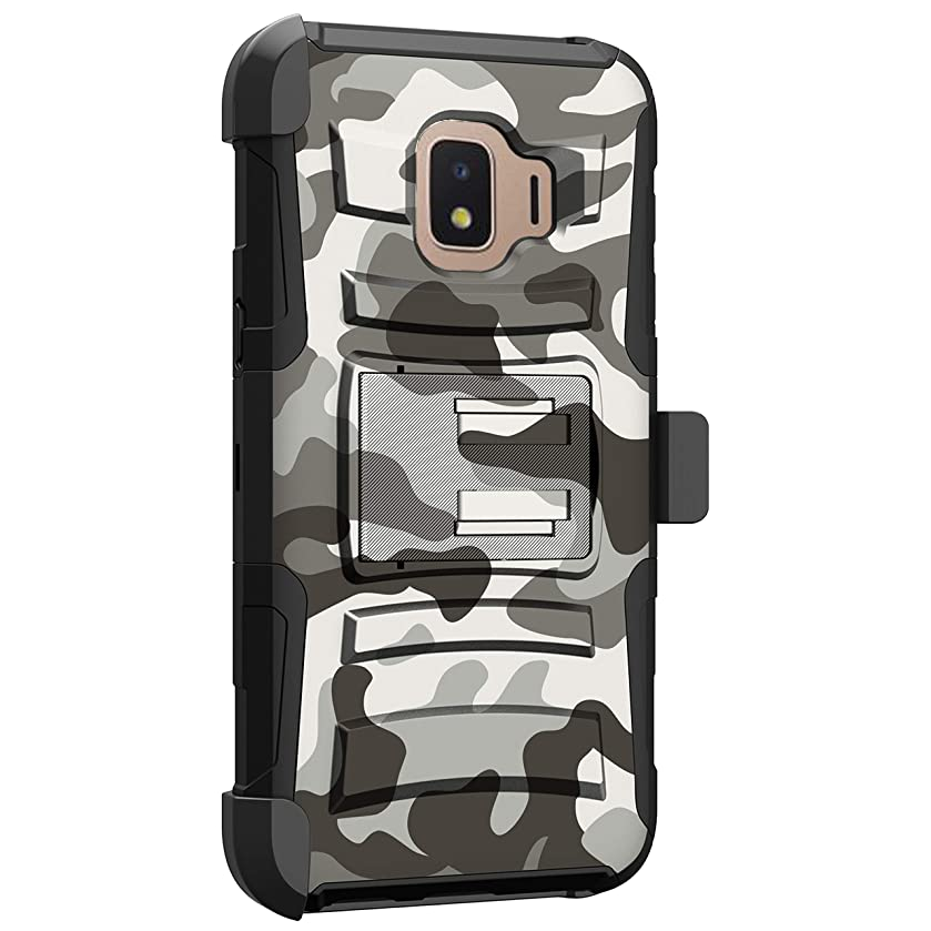 MINITURTLE Compatible with Samsung Galaxy J2 Core/Galaxy J2 Pure/Galaxy J2 Dash Advanced Layer Cover [Clip Armor] Shockproof Case with Holster and Stand - White Camo