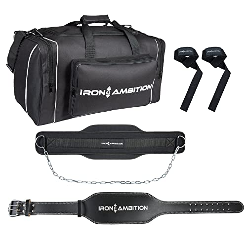 a9563cd39245 Iron Ambition s Ultimate Weightlifting Bundle  4 Items   Premium Gym Duffel  Bag