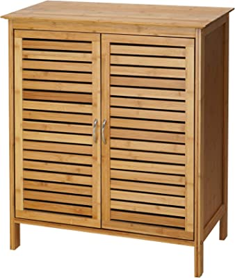 RANDEFURN Bamboo Cabinet,Freestanding Bathroom Cabinet,24.5x12x30Inches,Natural Bamboo Storage Chest with Doors,Suitable for Bathroom, Spa Room, Living Room, Nature
