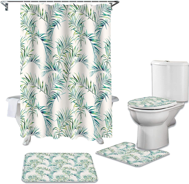 DaringOne Tropical supreme Leaf Bathroom Curtains 4 Set of Spring new work 36