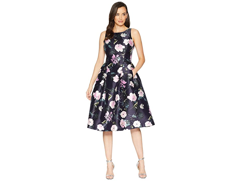 Tahari by ASL Printed Floral Fit Flare Party Dress (Navy/Blush/Ivory) Women