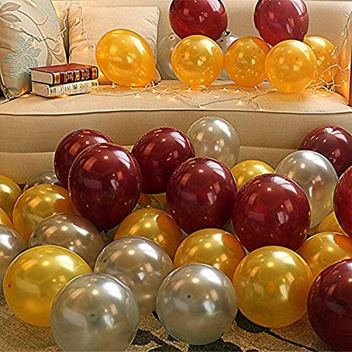 Theme My Party Latex Metallic HD Balloons Golden Silver Brown Pack Of