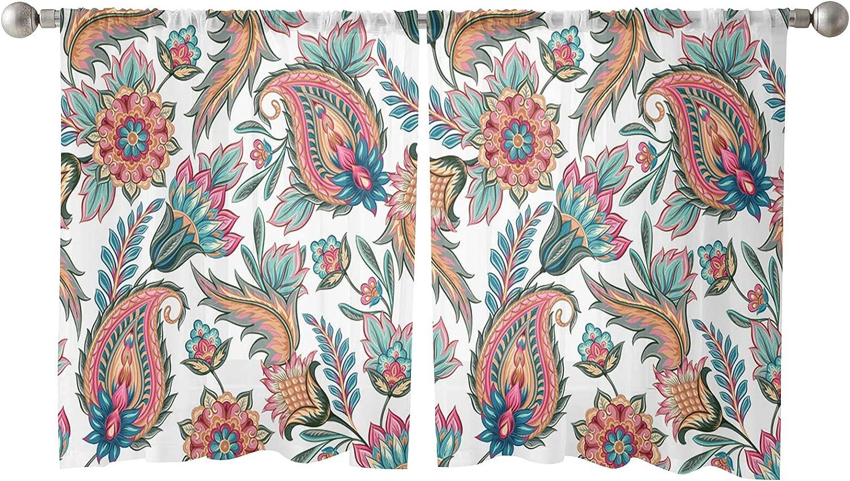 Sheer Curtains Paisley Floral Columbus Mall Vintage Rod Pattern Semi-Sh Popular products Pocket