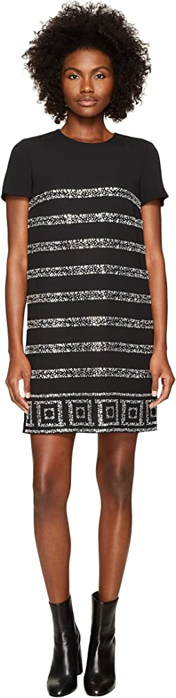 Versace Collection - Short Sleeve Shimmer Striped Dress