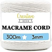Creative Deco 300 m Wit Macrame Koord Katoenen Koord | 2-3 mm (+-0.5 mm) Dikte 12-laags Koord | 985 Voeten | Grote Touwrol...