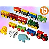 ToysOpoly Wooden Train Set 12 PCS - Magnetic Engines with 3 Bonus Animals - Deluxe Toys for Kids Toddler Boys and Girls - Compatible to Thomas Railway