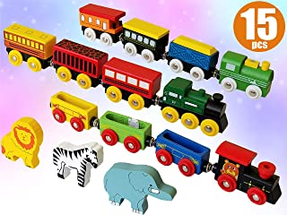 ToysOpoly Wooden Train Set 12 PCS - Magnetic Engines with 3 Bonus Animals - Deluxe Toys for Kids Toddler Boys and Girls - Compatible to Thomas Railway, Brio Tracks, and Major Brands