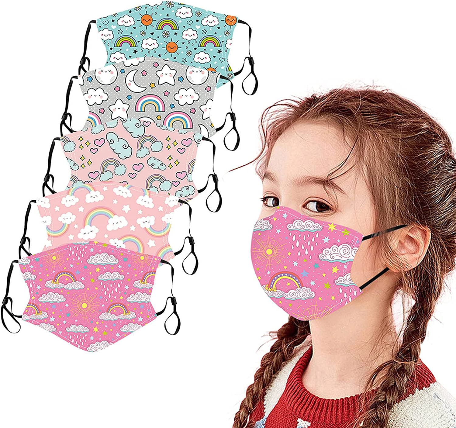 Kids Face San Francisco Mall Mask 5 Max 86% OFF 6 Pcs Washable Reusable Cloth M Childrens