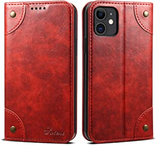Cover Wallet Compatible with iPhone 11 Apple,Red Leather Retro Texture Kickstand Protective Durable Folio Card Holder Case Shell for Women Girl