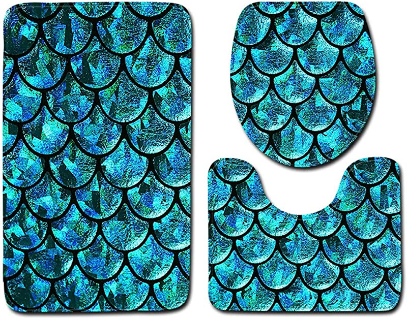 Best Seller 3 Pieces Fish Scale Bathroom Toilet Mat Three Piece Suit Bathroom Mat Toilet Carpet Door Mat E1 45X75Cm