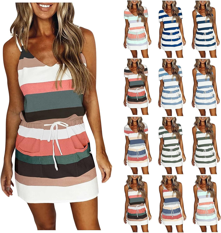 ORT Summer Dresses for Women Casual V Neck Sleeveless Spaghetti Dresses Stripe Splicing Sling Strap Mini Dress with Belt