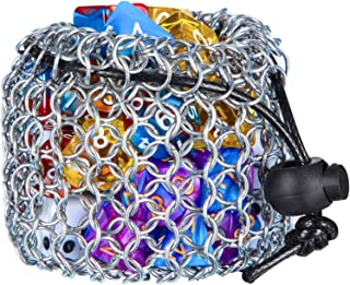 Stainless Steel Drawstring Dice Bag Compatible with Chainmail DND Dice Pouch Bag for Polyhedral Dice or Other Game Dice Set