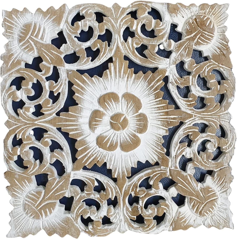 New New item item TJ Decoration Thai Teak Wood Carved Wall Floral Hangin