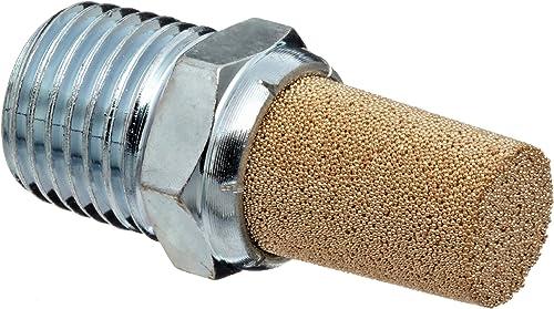 "Parker EM25 EM Series Sintered Bronze Muffler/Filter, 1/4"" NPT Male, 9/16"" Hex Size, 250 psi"