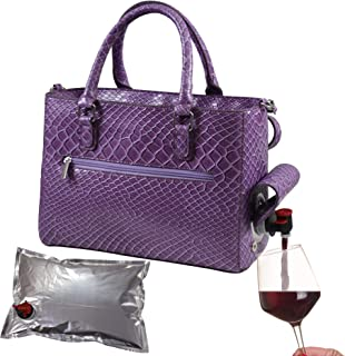 Primeware 8221-PP Insulated Purse w/ 3L Bladder Bag   Thermal Hot and Cold Storage   Portable Drinking Dispenser for Wine, Cocktails, Beer, Alcohol   PU Leather Finish
