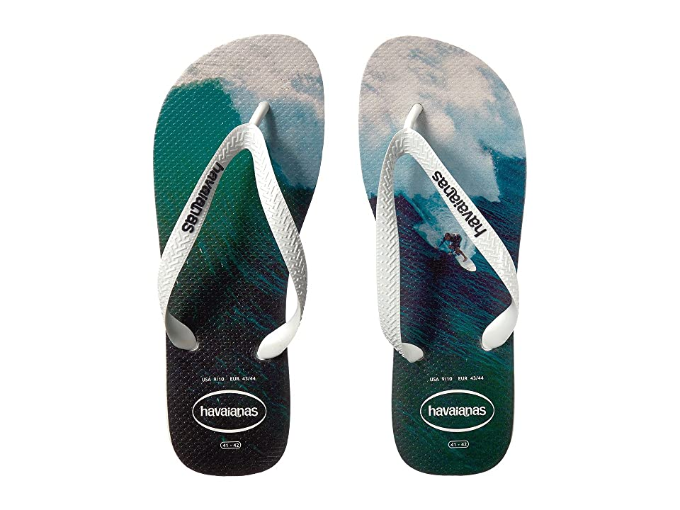 Havaianas Hype Flip Flops (White/White/Navy Blue) Men