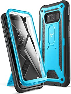 YOUMAKER Kickstand Case for Galaxy S8, Full Body with Built-in Screen Protector Heavy Duty Protection Shockproof Rugged Cover for Samsung Galaxy S8 5.6 inch - Blue/Black