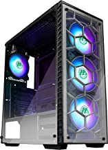 MUSETEX ATX Mid Tower Gaming Computer Case 6 RGB LED Fans 2 Translucent Tempered Glass Panels USB 3.0 Port,Cable Managemen...