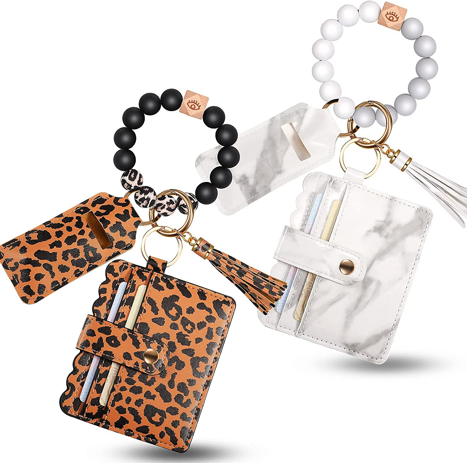 2 Pieces Wristlet Keychain Bracelet Wallet Holder Silicone Bead Keyring Bangle Key Ring Silicone Car Wallet Beaded Bangle Car Key Ring Card Holder with Card Faux Leather Tassel for Women and Girls