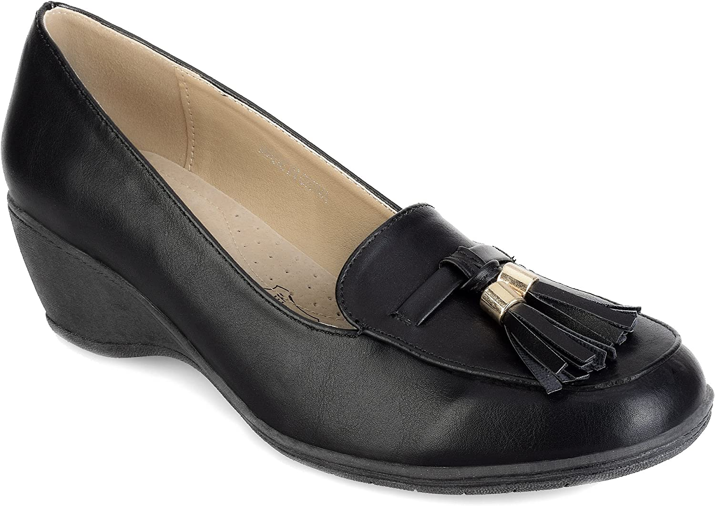 Greatonu Women shoes Tassel Slip On Court Wedge Pumps