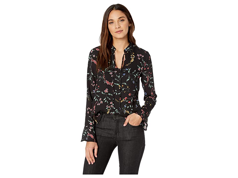 Cupcakes and Cashmere Edyth Printed Long Sleeve Top (Black) Women's Clothing