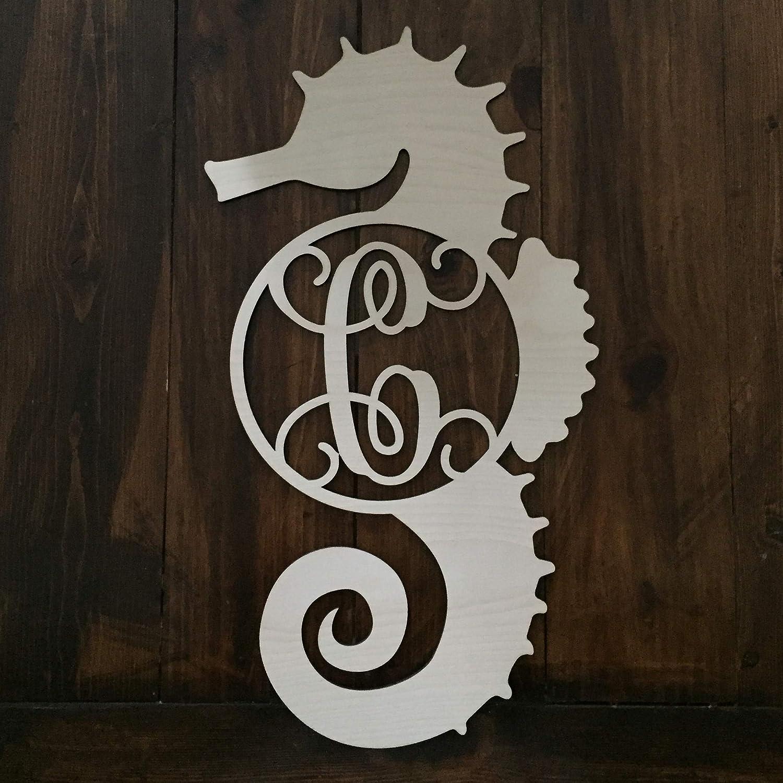 Manufacturer direct delivery Unfinished Wood Seahorse Super Special SALE held Monogram - Wreath Hanger Sea