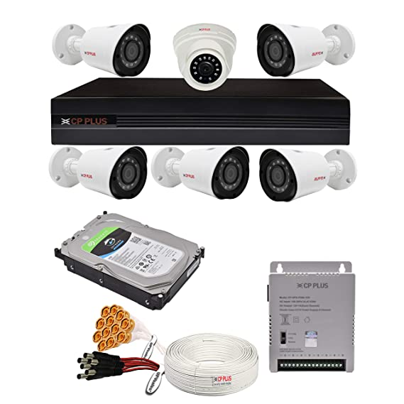 CP Plus 2.4MP, H.265+, 4TB Storage, 6 Camera Combo Kit with (8Ch DVR, 1 Dome 5 Bullet Cameras, 4TB HDD, Power Supply, 90Mtr Cable, Audio Mic and Connectors) 2.4 MegaPixel CCTV Security Camera Set