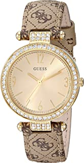 GUESS Brown Genuine Leather + Gold-Tone Logo Crystal Watch. Color: Brown (Model: U1230L2)
