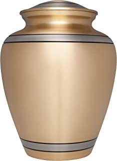 Gold Funeral Cremation Urn for Human Ashes by Liliane Memorials - Hand Made in Brass - Suitable for Cemetery Burial or Niche - Large Size fits remains of Adults up to 200 lbs - Peaceful EmbraceModel