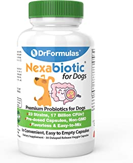 DrFormulas Probiotics for Dogs & Puppies Pets Diarrhea Treatment | Flavorless, Pre-dosed, 23 Premium Nexabiotic Probiotic ...
