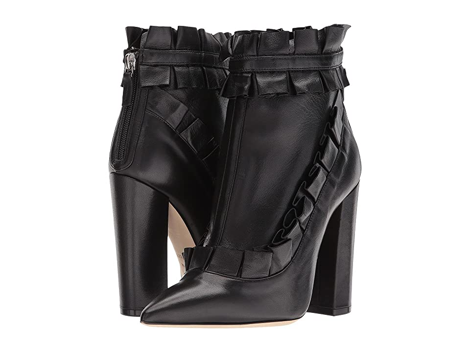 Racine Carree Ruffle Ankle Heel (Black/Black/Black) Women