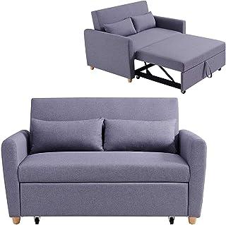 Mobilier Déco Kaya Lit canapé, Tissu, Gris, Deux Places