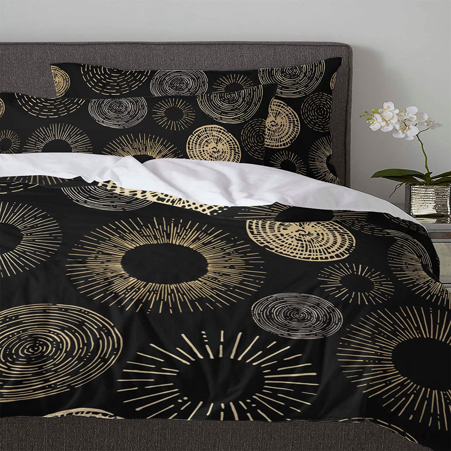California King Size 3 Pcs Duvet Cover Sets Circle Shining Firework 1 Bedspread 2 Pillow Cases Geometric Texture Lightweight Comforter Cover Set Bedding Decoration for Kids Childrens Adults