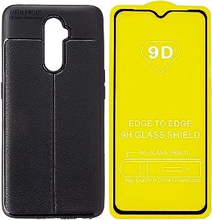جراب خلفي سيليكون رفيع مع شاشة حماية 5D مضادة لبصمات الاصابع لموبايل ريلمي 2 برو من اوتو فوكس - اسود
