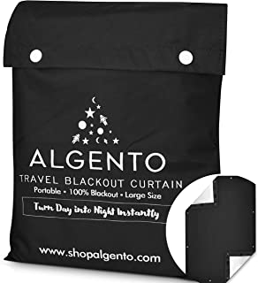 Algento Travel and Portable Blackout Curtain with Suction Cups and Fasteners - Window Cover for Baby Nursery - Temporary B...