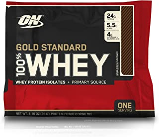 Sample Size Optimum Nutrition Gold Standard 100% Whey Protein Powder, Double Rich Chocolate, 1.16 Ounce