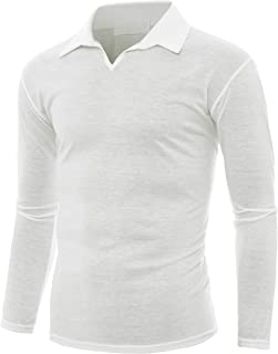 GIVON Mens Slim Fit Casual Long Sleeve Thin Lightweight Henley Y-Neck Silky Collar Polo Shirts