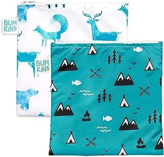 Bumkins Sandwich Bag/Snack Bag Set, Outdoors & Wildlife, 7 X 7 Inch (Pack of 2), Wildlife & Outdoor