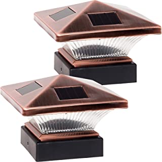 GreenLighting 2 Pack Siena Solar Post Cap LED Deck Light for 4x4 Nominal Wood or 4x4 & 5x5 PVC, Vinyl Posts (Bronze)