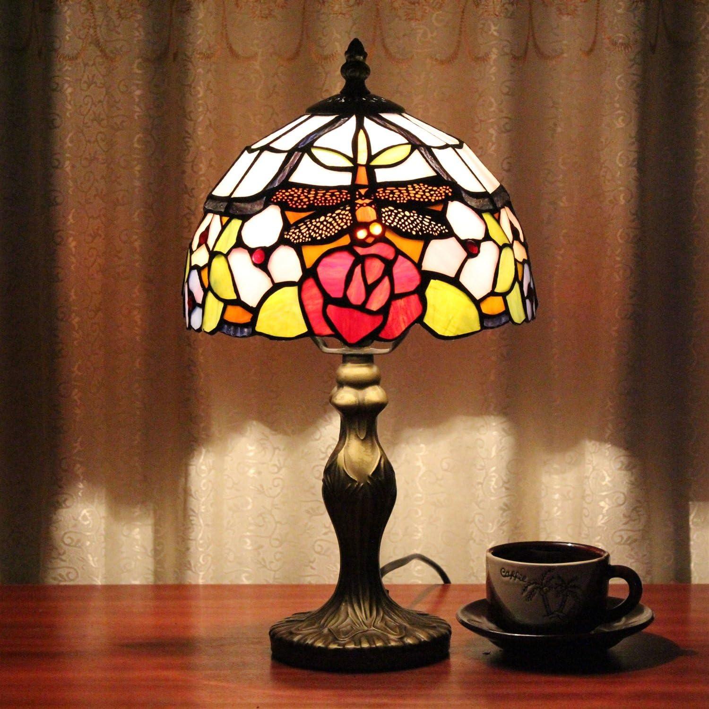 HDO 8-Zoll Pastorale Glasmalerei Libelle Tischlampe Schlafzimmer Lampe Nachttischlampe