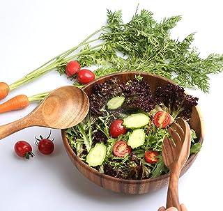"""TOP-Hill acacia wooden salad bowl set, wood salad bowl, 9.5"""" Diameter x 3.15"""" Height wooden salad bowls for food,mixing bo..."""