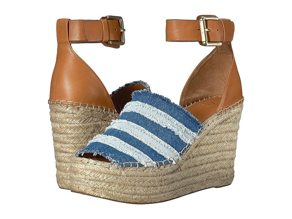 Marc Fisher LTD Adria Espadrille Wedge (Mid Blue/Light Blue/Salted Caramel Washed Denim/Washed Denim/New) Women